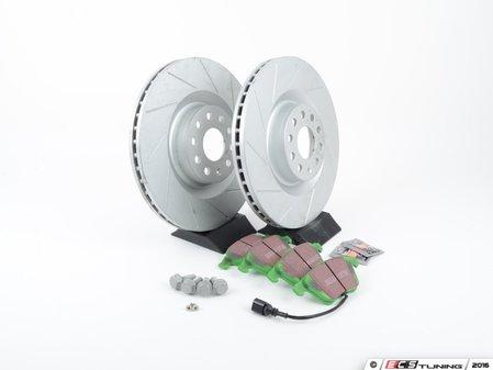 ES#2893844 - 1K0615301M2KT - performance front brake Service Kit (345x30) - Featuring ECS GEOMET slotted rotors and EBC GreenStuff pads - Assembled By ECS - Volkswagen
