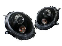ES#3192997 - HMINI07HL-OEB - Projector Blackout Headlights - Pair - Black housing halogen projector headlight set in OEM style! Motorized leveling! - Helix - MINI