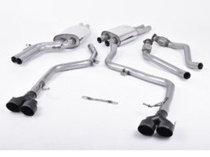 "ES#2827492 - SSXAU375 - Cat-Back Exhaust System - Non-Resonated Race Version - 2.37"" stainless steel with quad 100mm black Cerakote tips - Milltek Sport - Audi"