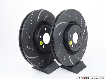 ES#2619980 - GD1845 - Front Slotted & Dimpled Brake Rotors - Pair (356x34mm) - Upgrade to a EBC GD slotted / dimpled rotor for improved braking - EBC - Audi