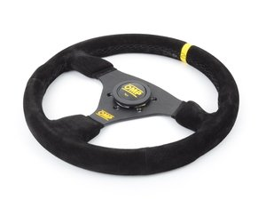 ES#3192159 - OD/2005 - Targa Racing Steering Wheel - Black/Yellow Suede - Universal sport steering wheel with a 330mm diameter. - OMP - BMW