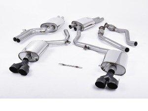 "ES#2827484 - SSXAU367 - Cat-Back Exhaust System - Resonated - 2.37"" stainless steel with quad 100mm black Cerakote tips - Milltek Sport - Audi"