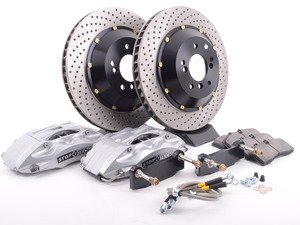 ES#3048534 - 83.133.4600.62 - StopTech front 4 piston big brake kit (332x32mm)  - Comes with 4 piston silver calipers, 2 piece uncoated slotted rotors and stainless steel brake lines. - Includes brackets and mounting bolts - StopTech - BMW
