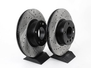 ES#3033062 - 34116855006CDSL - Cross-Drilled & Slotted Brake Rotors - Front  - This design removes performance robbing outgas and material dust caused by braking - StopTech - BMW