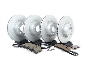 ES#3047780 - 34106787490KT4 - Front and rear brake service kit  - Featuring Zimmermann coated rotors and Akebono pads - Assembled By ECS - BMW