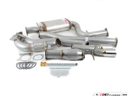 "ES#3081797 - 9432255 - 3"" Turbo-Back Exhaust System - Aluminized Steel - Non-Resonated - Aluminized Steel construction with 200-cell high flow cat, with twin single wall polished tips - 42 Draft Designs - Volkswagen"