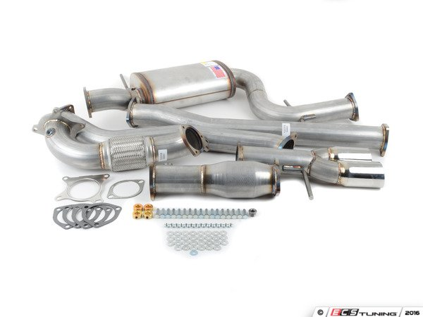 """ES#3081797 - 9432255 - 3"""" Turbo-Back Exhaust System - Aluminized Steel - Non-Resonated - Aluminized Steel construction with 200-cell high flow cat, with twin single wall polished tips - 42 Draft Designs - Volkswagen"""