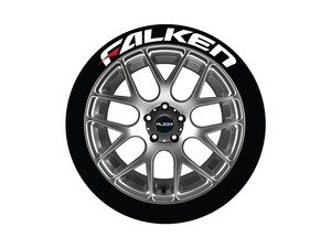 ES#3191797 - FALRED171814PS - Falken Tire Lettering Kit - White With Red Dash - 4 of Each - 1 inch tall Temporary Peel & Stick Tire Stickers for 17-18 inch tires - Tire Stickers - Audi BMW Volkswagen Mercedes Benz MINI Porsche