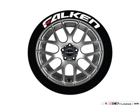 ES#3191805 - FALRED192114PS - Falken Tire Lettering Kit - White With Red Dash - 4 of Each - 1 inch tall Temporary Peel & Stick Tire Stickers for 19-21 inch tires - Tire Stickers - Audi BMW Volkswagen Mercedes Benz MINI Porsche