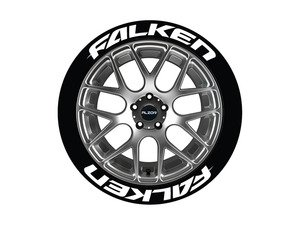 ES#3191753 - FAL17181258PS - Falken Tire Lettering Kit - White - 8 of Each - 1.25 inch tall Temporary Peel & Stick Tire Stickers for 17-18 inch tires - Tire Stickers - Audi BMW Volkswagen Mercedes Benz MINI Porsche