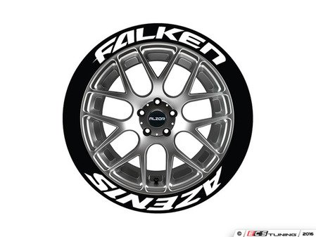 ES#3191783 - FALAZE1921754PS - Falken Azenis Tire Lettering Kit - White - 4 of Each - .75 inch tall Temporary Peel & Stick Tire Stickers for 19-21 inch tires - Tire Stickers - Audi BMW Volkswagen Mercedes Benz MINI Porsche