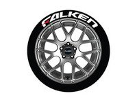 ES#3191789 - FALRED1416154PS - Falken Tire Lettering Kit - White With Red Dash - 4 of Each - 1.5 inch tall Temporary Peel & Stick Tire Stickers for 14-16 inch tires - Tire Stickers - Audi BMW Volkswagen Mercedes Benz MINI Porsche