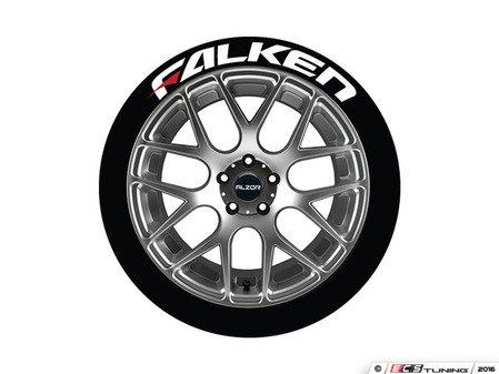 ES#3191784 - FALRED14161254 - Falken Tire Lettering Kit - White With Red Dash - 4 of Each - 1.25 inch tall Permanent Raised Rubber Tire Stickers for 14-16 inch tires - Tire Stickers - Audi BMW Volkswagen Mercedes Benz MINI Porsche