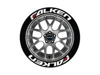 ES#3191787 - FALRED14161258PS - Falken Tire Lettering Kit - White With Red Dash - 8 of Each - 1.25 inch tall Temporary Peel & Stick Tire Stickers for 14-16 inch tires - Tire Stickers - Audi BMW Volkswagen Mercedes Benz MINI Porsche