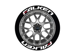ES#3191799 - FALRED171818PS - Falken Tire Lettering Kit - White With Red Dash - 8 of Each - 1 inch tall Temporary Peel & Stick Tire Stickers for 17-18 inch tires - Tire Stickers - Audi BMW Volkswagen Mercedes Benz MINI Porsche