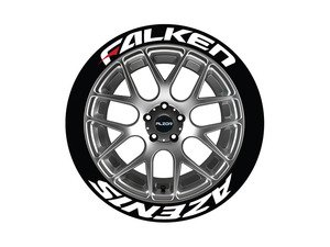 ES#3191815 - FAZRED1416154PS - Falken Azenis Tire Lettering Kit - White With Red Dash - 4 of Each - 1.5 inch tall Temporary Peel & Stick Tire Stickers for 14-16 inch tires - Tire Stickers - Audi BMW Volkswagen Mercedes Benz Porsche