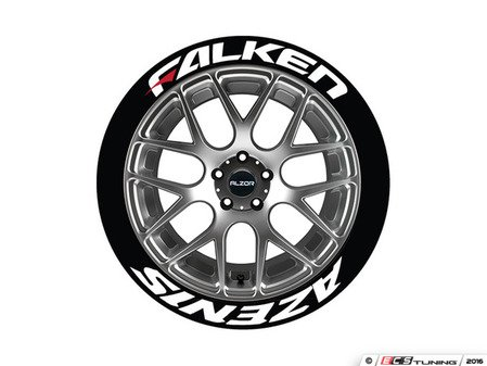 ES#3191823 - FAZRED192114PS - Falken Azenis Tire Lettering Kit - White With Red Dash - 4 of Each - 1 inch tall Temporary Peel & Stick Tire Stickers for 19-21 inch tires - Tire Stickers - Audi BMW Volkswagen Mercedes Benz MINI Porsche