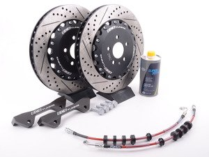 ES#3219283 - 003883ECS03KT1 - Front Big Brake Kit - Stage 2 - 2-Piece Rotors (380x34) - A direct fit kit that utilizes your stock calipers with ECS stainless steel lines - ECS - Audi