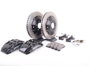 ES#3048872 - 83.152.6800.51 - StopTech front 6 piston big brake kit (380x32mm) - Comes with 6 piston black calipers, 2 piece uncoated slotted rotors and stainless steel brake lines. - Includes brackets and mounting bolts - StopTech - BMW