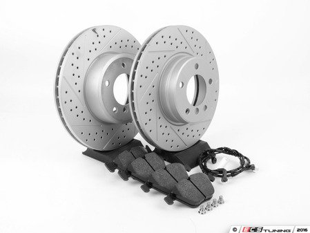 ES#3143710 - 6753221KT1 - Performance Front Brake Service Kit - Featuring ECS GEOMET cross drilled and slotted rotors and Hawk HPS pads - Assembled By ECS - BMW