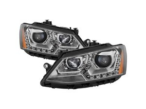 ES#3220802 - PR0JHVJ11-DRL-C - OE Style Projector Headlight Set - Chrome - Features LED DRLs and dual-projectors in chrome housings - Spyder - Volkswagen