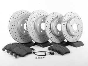 ES#2594107 - 8K0615301AXSKT - Performance Front & Rear Brake Service Kit - Featuring ECS GEOMET Cross Drilled & Slotted rotors and Hawk HPS pads - Assembled By ECS - Audi
