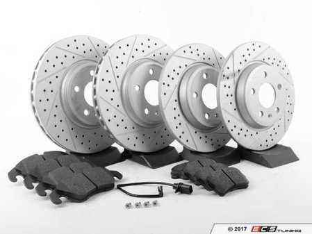 ES#2594107 - 8K0615301AXSKT - Performance Front & Rear Brake Service Kit - Featuring ECS GEOMET Dimpled & Slotted rotors and Hawk HPS pads - Assembled By ECS - Audi