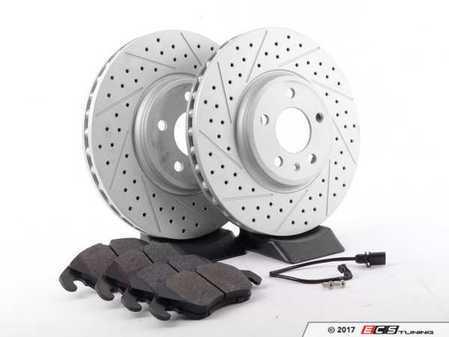 ES#2594110 - 8K0615301AXSKT1 - Performance Front Brake Service Kit - Featuring ECS GEOMET Dimpled & Slotted rotors and Hawk HPS pads - Assembled By ECS - Audi