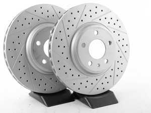 ES#2189928 - 8K0301AXSGMTLRA - Front Cross Dimpled & Slotted Brake Rotors - Pair (320x30) - Featuring GEOMET protective coating. - ECS - Audi