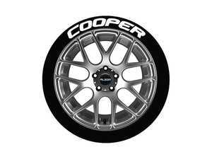 ES#3191723 - CO0P17181254PS - Cooper Tire Lettering Kit - White - 4 of Each - 1.25 inch tall Temporary Peel & Stick Tire Stickers for 17-18 inch tires - Tire Stickers - Audi BMW Volkswagen Mercedes Benz MINI Porsche