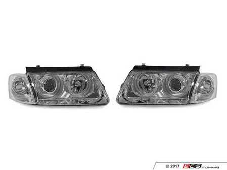ES#3220963 - 441-1178PXNDAM1 - Angel Eye Projector Headlight Set - Chrome - Features chrome housings with angel eyes - Depo - Volkswagen