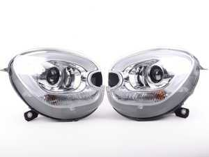 ES#3200124 - JMNR60M-PDHL5 - Projector Chrome LED DRL Headlights - Pair - F60 Style LED DRL and chrome housing halogen projector headlight set! - SONAR - MINI