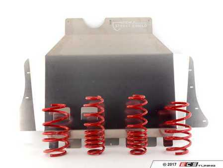 ES#2996697 - FKVW401KT - FK High Tec Lowering Springs WITH ECS Street Shield - Upgrade looks and handling with lowering springs while adding protection with the ECS Tuning Aluminum Street Shield - Assembled By ECS -