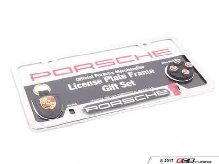 ES#2826492 - PNA70400744 - Porsche License Plate Frame Gift Set - Includes plate frame, key fob, and valve stem caps. - Genuine Porsche - Porsche