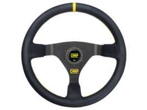 ES#3192155 - OD/1980/N - WRC Racing Steering Wheel - Black/Yellow Leather - Universal sport steering wheel with a 350mm diameter. - OMP - BMW