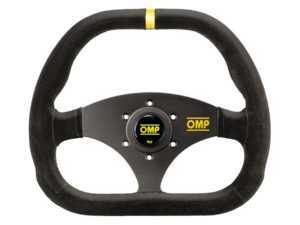 ES#3192156 - OD/1985 - Kubic Racing Steering Wheel - Black/Yellow Suede - Universal sport steering wheel with a 310x265mm diameter. - OMP - BMW