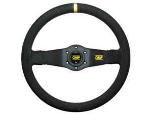 ES#3192145 - OD/1951 - Rally Racing Steering Wheel - Black/Yellow Suede - Black leather 2 spoke steering wheel with yellow reference mark. - OMP - BMW