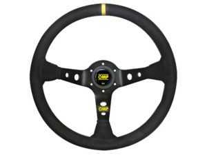 ES#3192147 - OD/1956 - Corsica Racing Steering Wheel - Black/Yellow Leather - Universal sport steering wheel with a 350mm diameter. - OMP - BMW