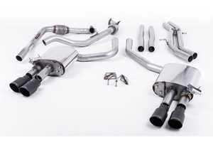 "ES#3240936 - SSXAU658 - Cat-Back Exhaust System - Non-Resonated (Louder) - 2.50"" stainless steel with quad GT-90 cerakote black tips - Milltek Sport - Audi"