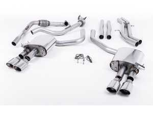 "ES#3240940 - SSXAU659 - Cat-Back Exhaust System - Non-Resonated (Louder) - 2.50"" stainless steel with quad polished oval tips - Milltek Sport - Audi"