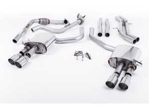 "ES#3240937 - SSXAU655 - Cat-Back Exhaust System - Non-Resonated (Louder) - 2.50"" stainless steel with quad GT-90 polished tips - Milltek Sport - Audi"