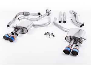 "ES#3240930 - SSXAU653 - Cat-Back Exhaust System - Non-Resonated (Louder) - 2.50"" stainless steel with quad GT-100 burnt titanium tips - Milltek Sport - Audi"
