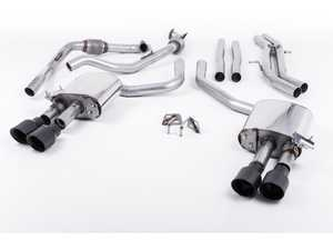 "ES#3240932 - SSXAU651 - Cat-Back Exhaust System - Non-Resonated (Louder) - 2.50"" stainless steel with quad GT-100 carakote black tips - Milltek Sport - Audi"