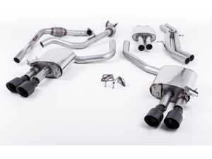 "ES#3240918 - SSXAU641 - Cat-Back Exhaust System - Resonated With Exhaust Valves - 2.50"" stainless steel with quad GT-100 Cerakote black tips - Milltek Sport - Audi"