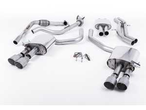 "ES#3240920 - SSXAU642 - Cat-Back Exhaust System - Resonated With Exhaust Valves - 2.50"" stainless steel with quad GT100 titanium tips - Milltek Sport - Audi"
