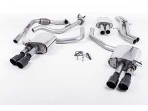 "ES#3240923 - SSXAU645 - Cat-Back Exhaust System - Resonated With Exhaust Valves - 2.50"" stainless steel with quad GT90 cerakote black tips - Milltek Sport - Audi"