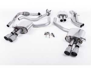 "ES#3240925 - SSXAU646 - Cat-Back Exhaust System - Resonated With Exhaust Valves - 2.50"" stainless steel with quad GT-90 titanium tips - Milltek Sport - Audi"