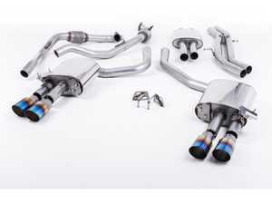 "ES#3240921 - SSXAU647 - Cat-Back Exhaust System - Resonated With Exhaust Valves - 2.50"" stainless steel with quad GT90 burnt titanium tips - Milltek Sport - Audi"