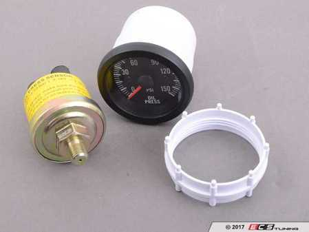 ES#3176546 - PSTOP270-12 - 52mm Prosport Electrical Oil Pressure Gauge - Clear Lens/White LED - Includes Sender, mounting hardware, visor, and instructions. - Prosport Performance - Audi BMW Volkswagen Mercedes Benz MINI Porsche