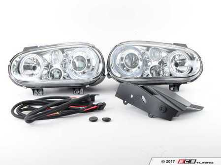 ES#3220970 - 441-1183PXNDFE1 - OE Style Angel Eye Projector Headlight Set - Chrome - With fog lights and angel eyes - Depo -